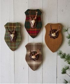 Black Forest roe antlers mounted on plaid-covered plaques. Pinned from Vignette Design.