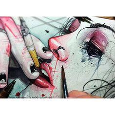 #Women #Smoke #Tattoo Art And Illustration, Bizarre Kunst, Art Sketches, Art Drawings, Grunge Art, Arte Horror, Sketch Inspiration, Weird Art, Psychedelic Art