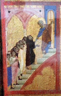 Guido da Siena e aiuti - San Pietro apre la porta del paradiso dettaglio dal Giudizio finale - 1280 circa - tempera su tavola - Grosseto, Museo archeologico e d'arte della Maremma