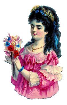 Victorian Scrap Image – Pretty Lady in Pink Dress