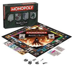 The face of humanity rests in the Attack on Titan collector's edition of Monopoly! 2-6 players travel the game board building walls and gates and assembling an elite squad to crush the titan threat an