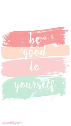 """""""Be Good To Yourself"""" peach coral mint and tan paint stripes wallpaper with black and white flowers free download for iPhone android or desktop background on the blog!"""