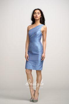blue one shoulder dupioni short sheath dress uk