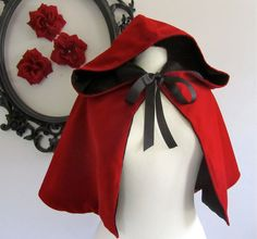 Red Riding Hoodie reversible hooded capelet. $72.00, via Etsy.