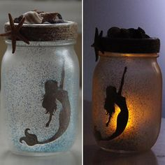 Catch a Mermaid in a Jar. With a simple electric tea light for illumination, these fun decorative jars are easy to maintain. These frosted glass jars come in small and large. Large are $35, Small are $25. Each jar is hand made to order so while I make sure they are all the same quality, I dont necessarily ship the jar in the photo. As a result products will have subtle variations from one piece to the next, i.e. Shells & glitter color.