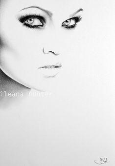 Tarja Turunen Pencil Drawing Minimalism Fine Art by IleanaHunter, $15.99 on Etsy. Aren't her eyes beautiful!!