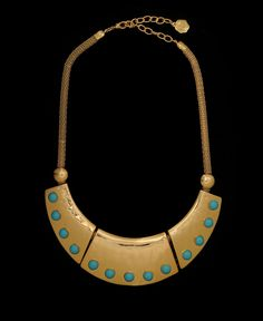 R.J. Graziano Turquoise Stone Triple-Plate Collar Necklace