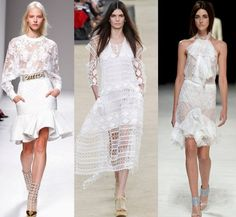 From left: Balmain, Chloe, Nina Ricci    Paris Fashion Week–White lace might still evoked notions of prissy purity, but the Paris fashion shows balanced them with plenty of sexiness. From heavier crochet lace to delicate vintage-style lace, the common thread was lots of skin–and undergarments–showing. But the result was never vulgar, just pretty.