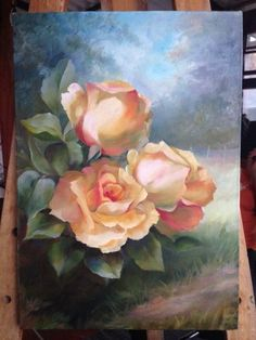 Oil Painting Flowers, Rose Paintings, Simple Paintings, Acrylic Flowers, Rose Art, Arte Floral, Painting Inspiration, Flower Art, Watercolor Art