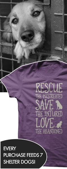 Love that fact that every purchase of this feeds 7 shelter dogs!!! http://iheartdogs.com/product/rescue-them/?utm_source=PinterestNetwork_RescueThem&utm_medium=link&utm_campaign=PinterestNetwork_RescueThem