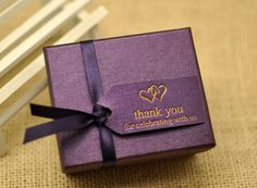 Purple Wedding Favor Candy Box , DIY  Party Paper Favor Box , Candy Box with Ribbons and tag ,Purple by sweetywedding on Etsy