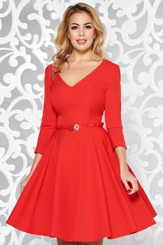 StarShinerS red elegant cloche dress flexible thin fabric/cloth with v-neckline accessorized with belt Product Label, Flexibility, October, Neckline, Glamour, Belt, Zipper, Vestidos