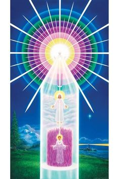 In esoteric literature, the rainbow-colored spheres in this illustration comprise the causal body. Each of us has a casual body. It is made up of beautiful concentric spheres of pulsating light and is scintillating with the unlimited potential of Spirit. Your causal body is entirely unique because it is composed of the energies you have personally set in motion in all your lifetimes. Elizabeth Clare Prophet, Spiritual Stories, Spiritual Prayers, Art Visionnaire, Jesus Christus, Ange Demon, Ascended Masters, Mystique, Visionary Art
