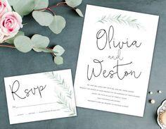 Earthy Wedding Invitation, Leaf Wreath, by AlexaNelsonPrints