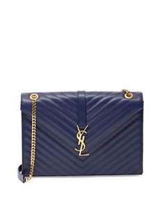 Monogramme Matelasse Shoulder Bag, Navy by Saint Laurent at Neiman Marcus.