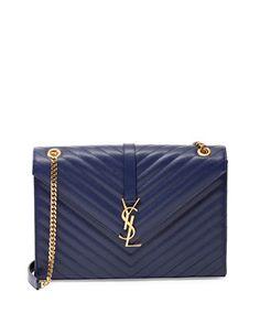 Monogramme Matelasse Shoulder Bag, Navy by Saint Laurent at Neiman Marcus.