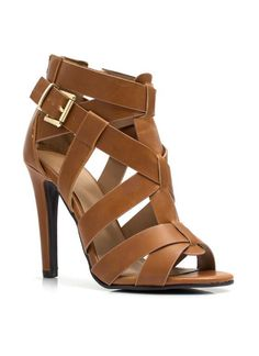 448cdfe4a9eb Michael Kors Strappy Buckled Leather High Heel Sandal for Office ...