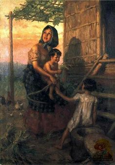 """""""""""Mother and Children"""" by Fernando Cueto Amorsolo 1941 Oil in Canvas x 72 Philippine Art Collection"""" Mother And Child Drawing, Mother Art, Filipino Art, Filipino Culture, Italian Colors, Composition Painting, Philippine Art, African Art Paintings, Philippines Culture"""