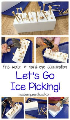 Let's go fine motor ice picking in preschool! Work on fine motor skills and hand-eye coordination with golf tees, hammers, and block of ice. Winter Activities For Kids, Winter Crafts For Kids, Winter Fun, Toddler Activities, Winter Ideas, Winter Theme For Preschool, Christmas Activities, Summer Crafts, Kids Fun