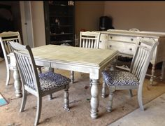Table , chairs and buffet refinished with white paint and black glaze