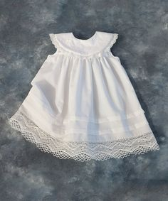 White Lace-Trim Yoke Dress - Infant & Toddler by Katie Bug Casuals #zulily #zulilyfinds