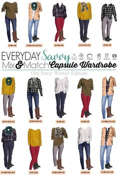 A fun casual DIY Old Navy Winter capsule wardrobe will having you looking great this winter. It is so easy to mix and match these pieces including colored pants, plaid shirts and a cozy scarf and jacket to save time and money. Mix Match Outfits, Warm Outfits, Winter Outfits, Casual Outfits, Cute Outfits, Capsule Wardrobe Mom, Work Wardrobe, Winter Wardrobe, Wardrobe Ideas