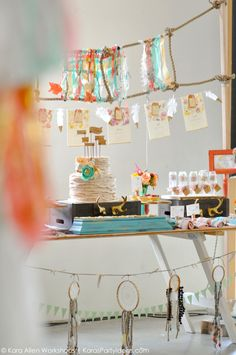 Boho bridal shower | wedding via Kara Allen, Kara's Party Ideas | KarasPartyIdeas.com Awesome bohemian, tribal, aztec, teepee, and rustic accents! Gorgeous dessert table!