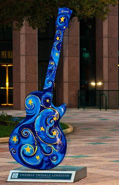 The Blues Guitar Art in downtown Austin. I want to redo this. Good thing I know where I can get guitar parts! Guitar Painting, Guitar Art, Cool Guitar, Blue Guitar, Dot Painting, Ukulele, Image Bleu, Statues, The Blues Brothers
