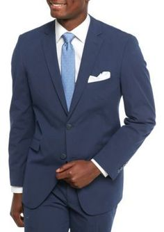 Madison Blue Modern-Fit Indigo Blue Pinfeather Stretch Suit Coat