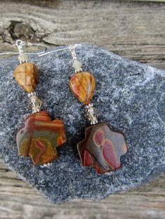 Red Creek Jasper Celtic Cross Earrings by PeaceofNatureJewelry, $19.00