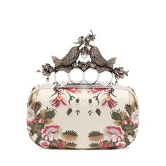 Alexander McQueen ~ Chemise and Washed Nappa Floral Satin Stitch Embroidery & Bird Knuckle Box Clutch. Alexander Mcqueen Clutch, Bird Embroidery, Embroidery Fashion, Jeweled Shoes, New Bag, Bag Sale, Evening Bags, Fashion Bags, Women's Accessories