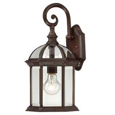 "Charlton Home Vannest 1 Light Outdoor Wall Lantern Finish / Shade Type: Rustic Bronze / Clear Beveled, Size: 26.25"" H x 13"" W, Bulb Type: Incandescent"