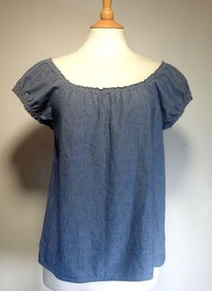 J Crew Blue Denim Look Puff Sleeve Blouse Top Womens Junior SS Cotton #JCrew #Blouse #Casual