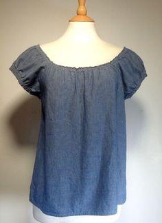 J Crew Blue Denim Look Puff Sleeve Blouse Top Womens Junior SS Cotton #JCrew #Blouse #Casual