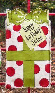 Happy Birthday Jesus Present Large Burlee - Christmas Burlap Door Hanger Christmas Jesus, Burlap Christmas, Christmas Door, Christmas Signs, Christmas Wreaths, Christmas Crafts, Christmas Decorations, Christmas Ideas, Christmas Banners