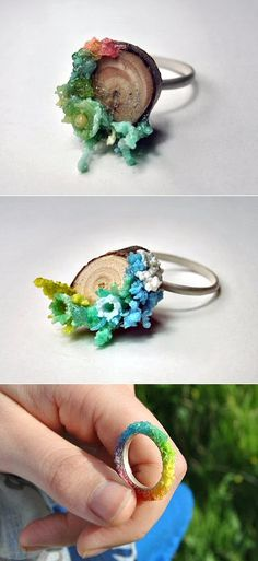 """These rings looks like they were dipped into rainbow sherbet which is fitting, because they actually used to dip into rainbow sherbet. Spanish jeweller Azahara Santoro used plastic from dozens of little spoons (notice the punched-out bits) to create her """"Old for New"""" series.  http://azahara-santoro.blogspot.com/  seen on thecarrotbox.com    ...which is fitting, because they actually used to dip into rainbow sherb..."""