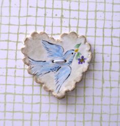 Ceramic Button, Large Heart with Scalloped Edge Detail and Blue Bird