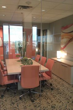 Conference room..morning meeting with orange juice! Designed by Home For A Change Commercial Interiors