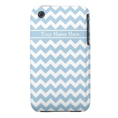 Custom iPhone 3 CaseMate, Blue and White Chevrons