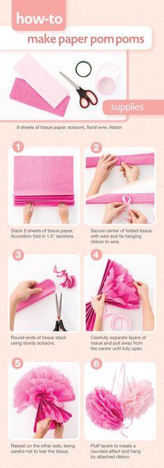 How-to make paper pom poms using tissue paper.
