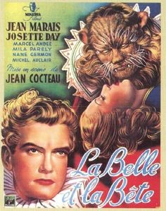 La Belle et la Bête film was made in 1946 and was most likely the first adaption of Jeanne-Marie Leprince de Beaumont's fairy tale. Jean Cocteau directed this French romantic fantasy film. The movie starred Kean Marais and Josette Day. French Movies, Old Movies, Vintage Movies, Great Movies, Vintage Posters, Illustration Française, Illustrations, Denis Zilber, Posters