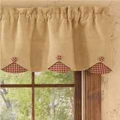 Burlap & Check Red Lined Scallop Valance measures x cotton; Dry cleaning recommended to prevent shrinkage. Coordinating window treatments are available. Ikea Curtains, Burlap Curtains, Green Curtains, Home Curtains, Hanging Curtains, Valance Curtains, Sewing Curtains, Beige Curtains, French Curtains