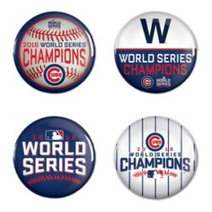 Chicago Cubs 2016 World Series Champions WinCraft Set of 4 Collector's Buttons