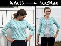 How to Turn an Old Sweater into a Stylish Cardigan More