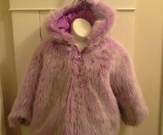 Casual time girls purple fuchsia reversible hooded fur jacket size 4t