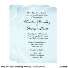 Baby Blue Satin Wedding Invitations  5x7 and more sizes 40% off #leatherwooddesign