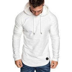 Mens Irregular Hem Hooded Striped Fold Raglan Sleeve O-neck Solid Color Casual Sweatshirt – narachic Hoodie Sweatshirts, Sweatshirts Online, Sweat Shirt, Jumper, Men Sweater, Longsleeve, Raglan, Slim Fit, Mens Fashion