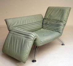 Anonymous; Leather and Chromed Metal Adjustable Lounge Chair by De Sede, 1990s.