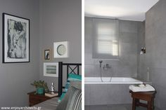 A gray, small masterbedroom with feminine touches and it's masterbathroom, by #eNJOY architects.