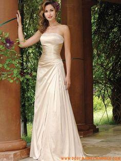 A-line or sans bretelle champagne perles robe de mariée 2012 satin stretch